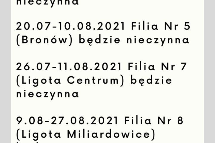 Plakat z datami, w których nieczynne są filie biblioteczne.